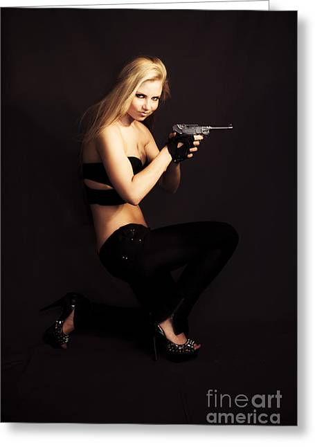 Private Investigator With Hand Gun Greeting Card by Jorgo Photography - Wall Art Gallery