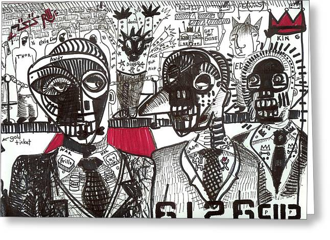 Basquiat Greeting Cards - Private Party Greeting Card by Robert Wolverton Jr