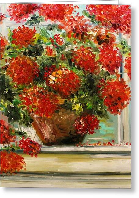 Red Geraniums Greeting Cards - Prize Geranium Greeting Card by John  Williams