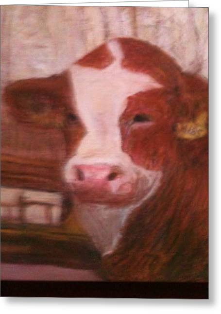 Bulls Pastels Greeting Cards - Prized Bull Greeting Card by Richalyn Marquez