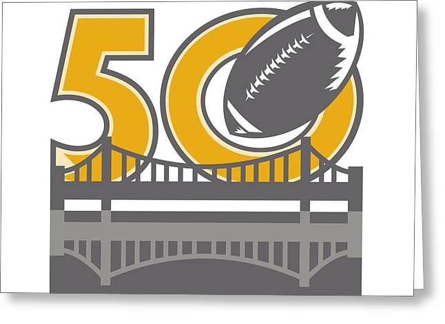 Pro Football Championship 50 Ball Bridge Greeting Card by Aloysius Patrimonio