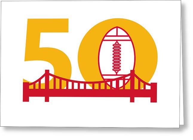 Pro Football Championship 50 Bridge Greeting Card by Aloysius Patrimonio