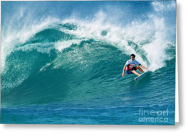 Surf Art Greeting Cards - Pro Surfer Gabriel Medina Surfing in the Pipeline Masters Contes Greeting Card by Paul Topp