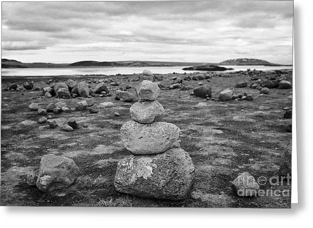 Problem Greeting Cards - problem tourist made stone cairns in Thingvellir national park iceland Greeting Card by Joe Fox