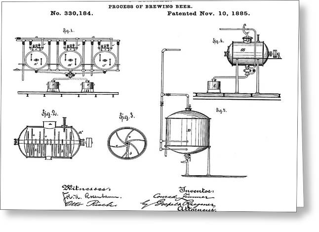 Process Of Brewing Patent 1885  Greeting Card by Bill Cannon