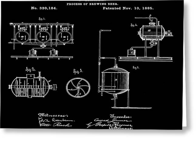 Process Of Brewing Patent 1885 In Black Greeting Card by Bill Cannon