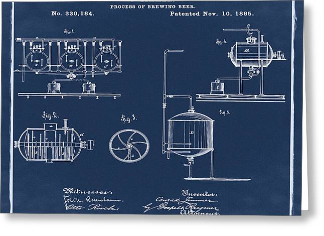 Process Of Brewing Patent 1885 In Blue Greeting Card by Bill Cannon