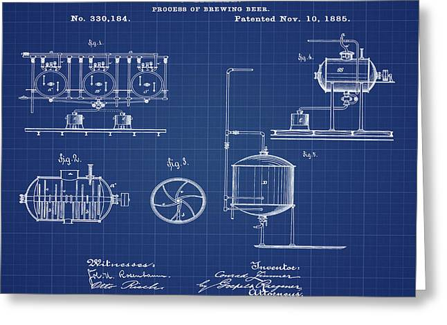 Process Of Brewing Patent 1885 In Blueprint Greeting Card by Bill Cannon