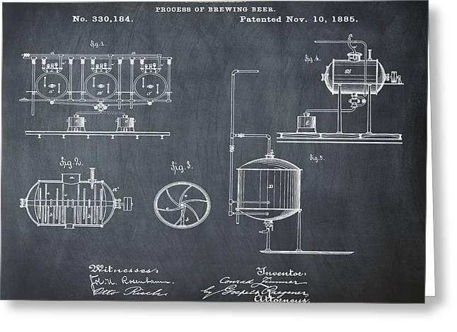 Process Of Brewing Patent 1885 In Chalk Greeting Card by Bill Cannon