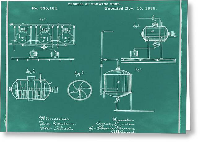 Process Of Brewing Patent 1885 In Green Greeting Card by Bill Cannon