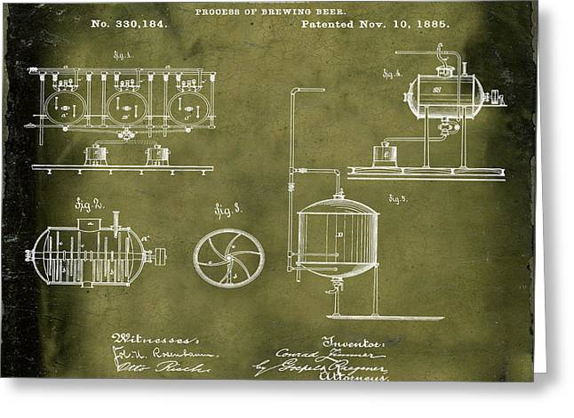 Process Of Brewing Patent 1885 In Grunge Greeting Card by Bill Cannon