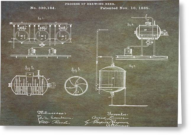 Process Of Brewing Patent 1885 In Marble Greeting Card by Bill Cannon