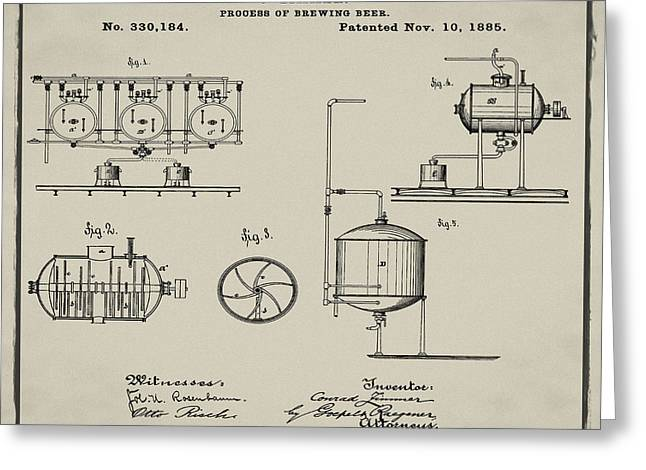 Process Of Brewing Patent 1885 In Tan Greeting Card by Bill Cannon