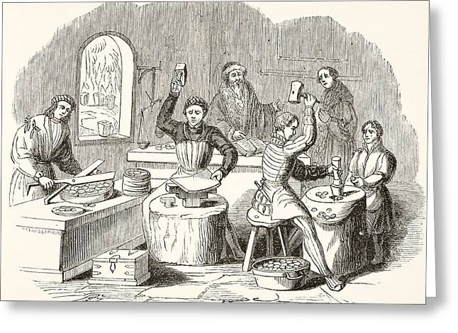 Process Of Coining In 16th Century Greeting Card by Vintage Design Pics