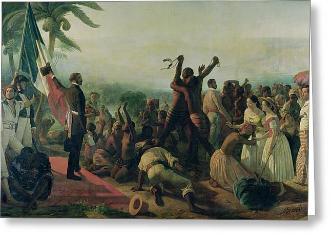 Abolitionist Paintings Greeting Cards - Proclamation of the Abolition of Slavery in the French Colonies Greeting Card by Francois Auguste Biard