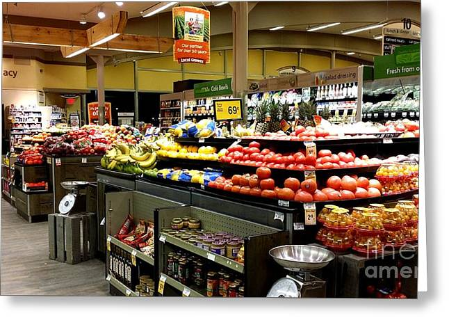 Grocery Store Greeting Cards - Produce section at Marina-style Safeway Greeting Card by Ben Schumin