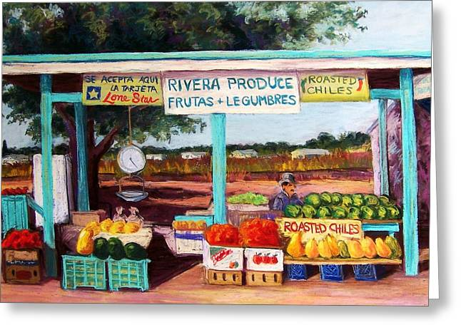 Food And Beverage Pastels Greeting Cards - Produce Stand Greeting Card by Candy Mayer