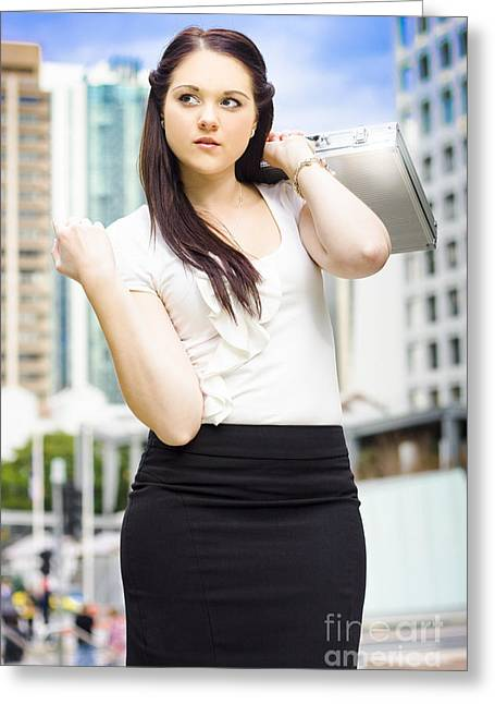 Consultant Office Greeting Cards - Professional City Lawyer Holding Silver Briefcase Greeting Card by Ryan Jorgensen