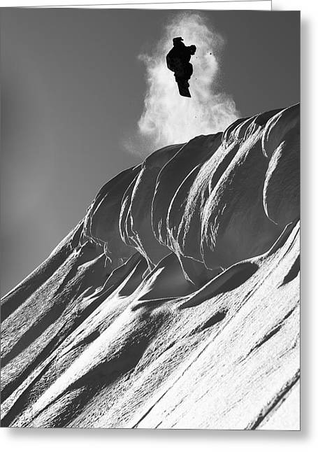 Marko Greeting Cards - Professional Snowboarder, Marko Grilc Greeting Card by Dean Blotto Gray