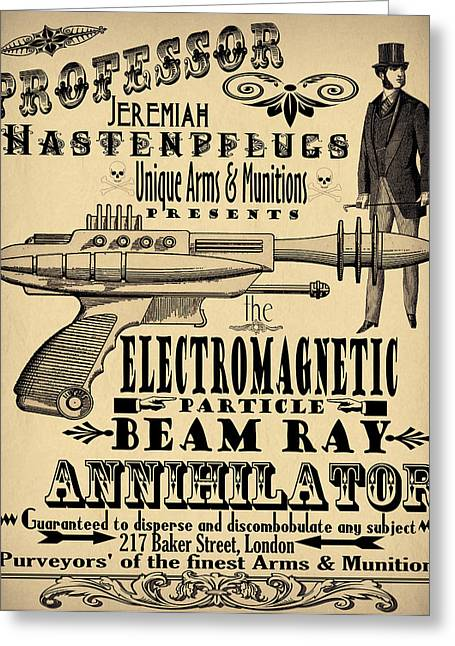 Steam-punk Greeting Cards - Professor H and his Ray Gun Greeting Card by Cinema Photography