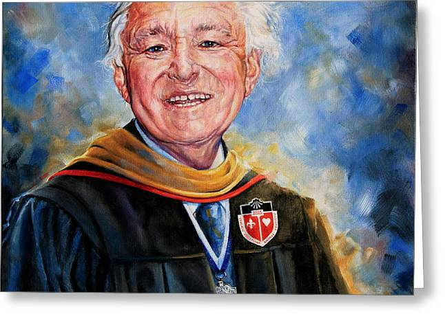 Greeting Cards - Professor Portrait Commission Greeting Card by Hanne Lore Koehler