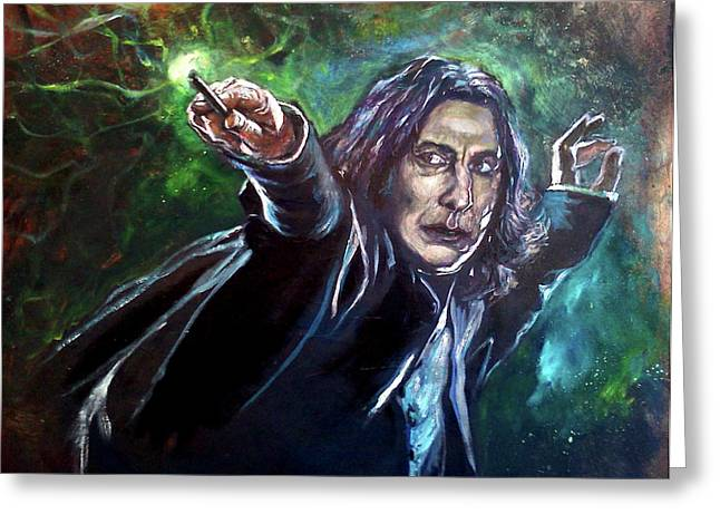Snape Greeting Cards - Professor Snape Greeting Card by Brian Child