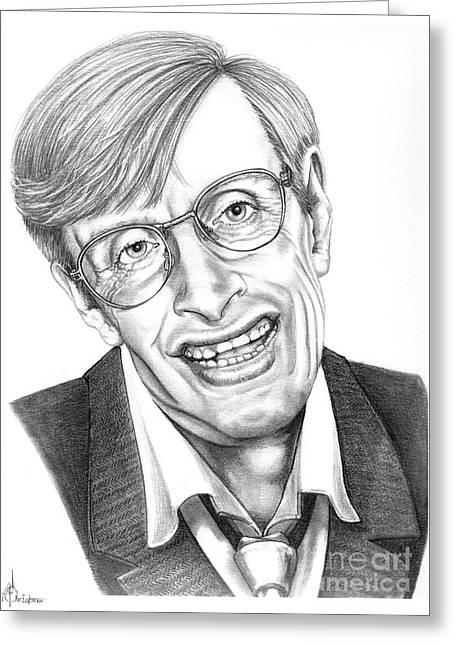 Physicist Greeting Cards - Professor Stephen W. Hawking Greeting Card by Murphy Elliott