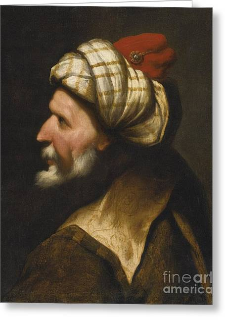 Profile Of A Barbary Pirate Greeting Card by Celestial Images