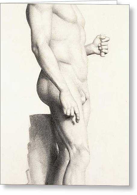 Erotic Male Drawings Greeting Cards - Profile of a sculpture of a Warrior with a Helmet Greeting Card by Georges Pierre Seurat