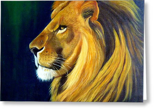 Wildife Paintings Greeting Cards - Profile Of The King Greeting Card by Janet Silkoff
