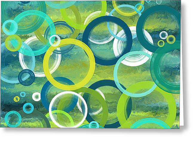Profound Cycles- Turquoise Art Greeting Card by Lourry Legarde