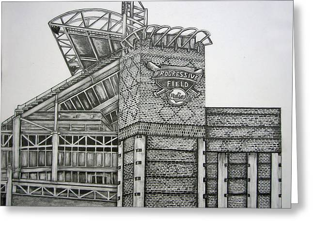 Progressive Field Greeting Card by Juliana Dube