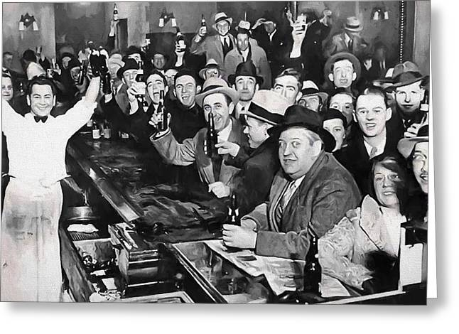 Prohibition Ends Celebration Dec 5, 1933 Greeting Card by Daniel Hagerman