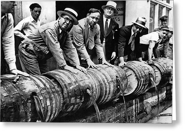 Prohibition Feds And Crew Dump Liquor Greeting Card by Daniel Hagerman