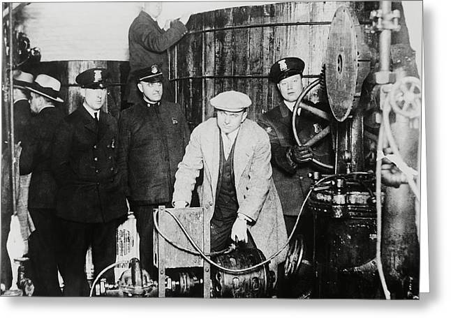 Fed Greeting Cards - PROHIBITION FEDS FIND ILLEGAL BREWERY c. 1925 Greeting Card by Daniel Hagerman