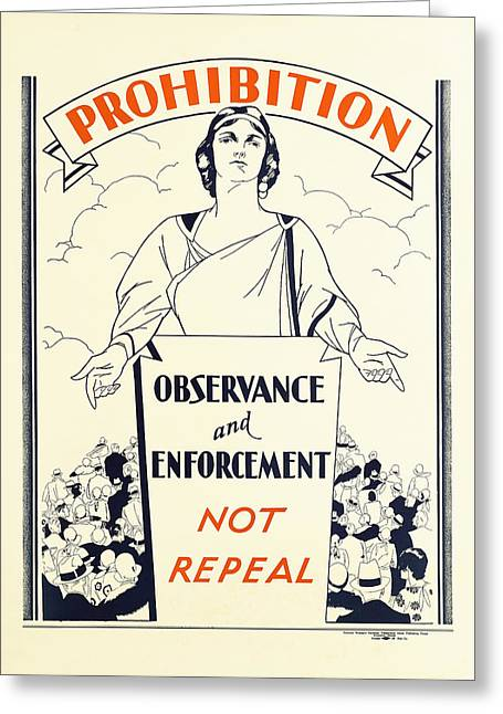 Fed Greeting Cards - PROHIBITION TEMPERANCE POSTER c. 1925 Greeting Card by Daniel Hagerman