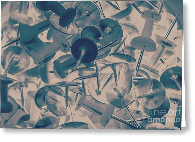 Projected Abstract Blue Thumbtacks Background Greeting Card by Jorgo Photography - Wall Art Gallery