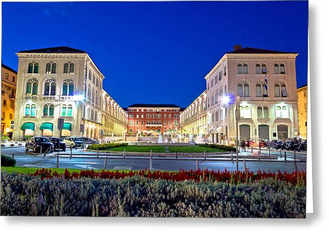 Town Square Greeting Cards - Prokurative square in Split evening view Greeting Card by Dalibor Brlek