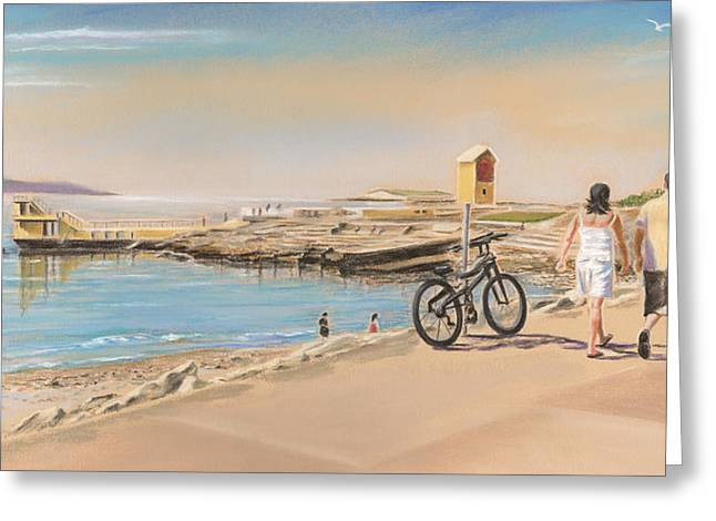 Galway Bay Greeting Cards - Promenade at Salthill Galway Greeting Card by Vanda Luddy