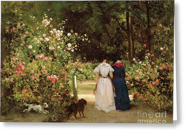 Rosebush Greeting Cards - Promenade Greeting Card by Constant-Emile Troyon