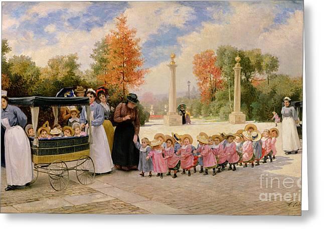 Promenade des Enfants  Greeting Card by Timoleon Marie Lobrichon