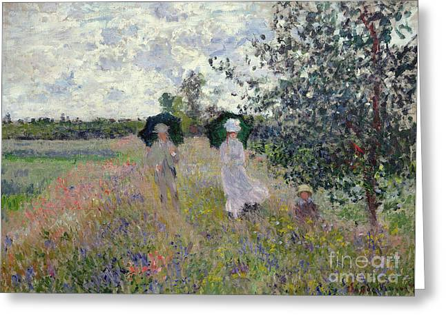 Umbrella Greeting Cards - Promenade near Argenteuil Greeting Card by Claude Monet