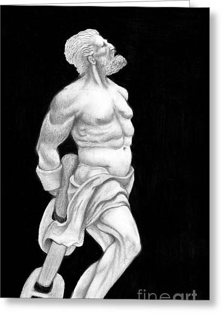 Greek Sculpture Drawings Greeting Cards - Prometheus Greeting Card by Gabriela Junosova