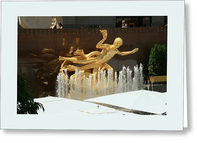 Ice-skating Greeting Cards - Prometheus -  Rockefeller Center Greeting Card by Allen Beatty