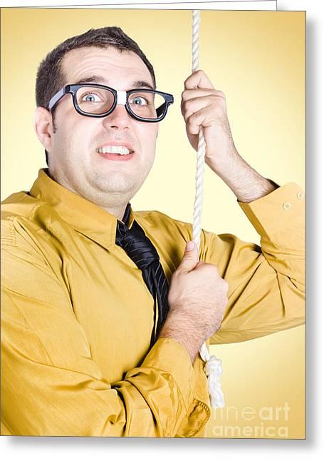 Promoted Employee Climbing Up Corporate Rope Greeting Card by Jorgo Photography - Wall Art Gallery