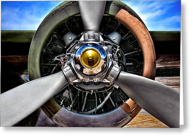 Plane Radial Engine Greeting Cards - Propeller Art   Greeting Card by Olivier Le Queinec