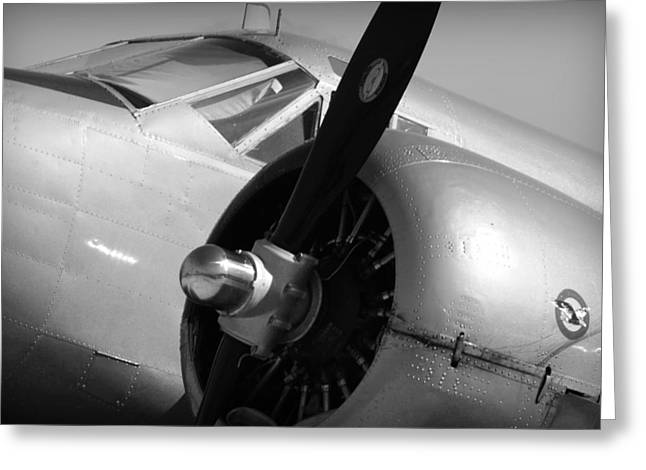 Military Airplanes Greeting Cards - Propeller of an Airplane in Black and White Greeting Card by Kelly Hazel