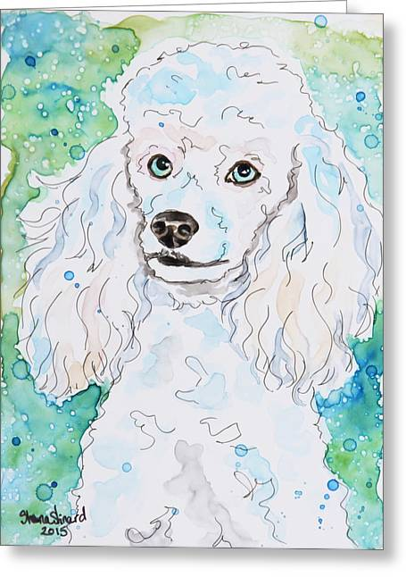 Pen And Paper Greeting Cards - Proper Poodle Greeting Card by Shaina Stinard