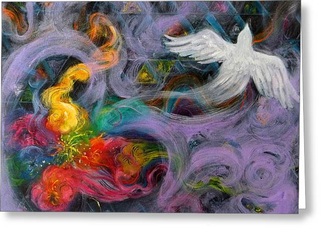 Prophetic Message Sketch Painting 10 Divine Pattern Dove Greeting Card by Anne Cameron Cutri