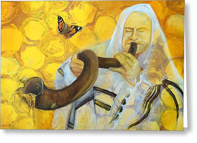 Anne Cameron Cutri Greeting Cards - Prophetic Message Sketch Painting 9 Honey Dripping from the Shofar Greeting Card by Anne Cameron Cutri